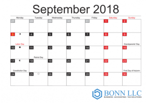 Tax Compliance Calendar-September 2018